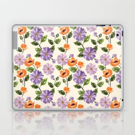 Rustic orange lavender ivory floral illustration Laptop & iPad Skin