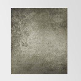 Antique Floral Vintage Grunge Grey Throw Blanket