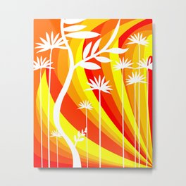 Orange and Yellow Ombre Gradient Background with White Botanical Plant Metal Print