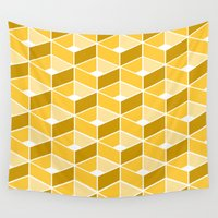 yellow pattern Wall Tapestries featuring Simple Pattern Yellow by Donika Nikova - ShaynART
