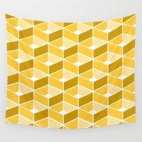 yellow pattern Wall Tapestries featuring Simple Pattern Yellow by DONIKA NIKOVA - Art & Design