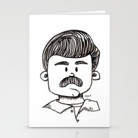 ron swanson Stationery Cards featuring Ron Swanson by art by arielle