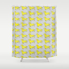 Doxie Love - Grey and Yellow Shower Curtain