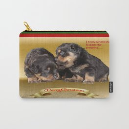 I Know Where She's Hidden The Presents Rottweiler Puppy Christmas Wishes Carry-All Pouch