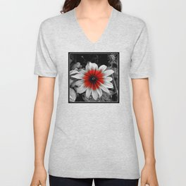 Flower | Flowers | Red Stroke Gaillardia | Red and White Flower | Nadia Bonello Unisex V-Neck