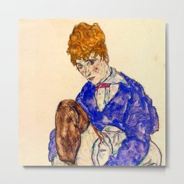 """Egon Schiele """"Portrait of the Artist's Wife Seated, Holding Her Right Leg"""" Metal Print"""