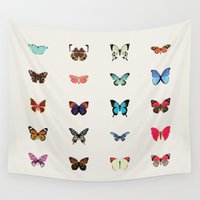 butterflies Wall Tapestries featuring Butterflies by Dorothy Leigh