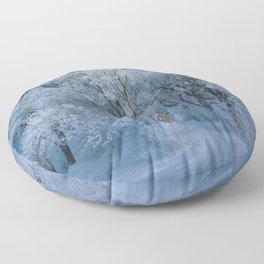 New England Winter Landscape Floor Pillow