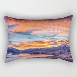 Sunset Pano // Beautiful Rocky Mountain Lake View Colorado Red Orange Sky Rectangular Pillow