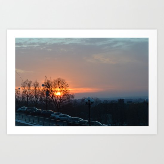 Sunset in Montreal Art Print