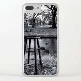 Stool - Black and White Clear iPhone Case