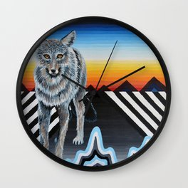 Geometric Coyote Wall Clock
