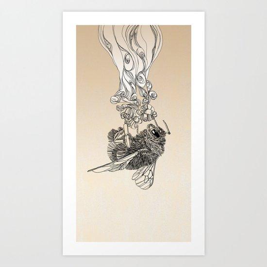 Bumlebee & flowers Art Print