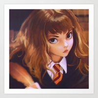 hermione Art Prints featuring Hermione by Mightymike