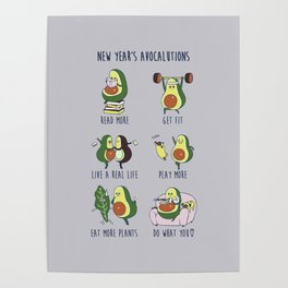 New Year's Resolutions with Avocado Poster