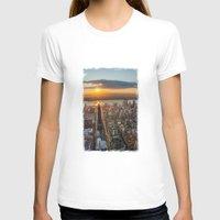 manhattan T-shirts featuring MANHATTAN - sunset by hannes cmarits (hannes61)