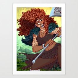 Red Head Warrior Art Print