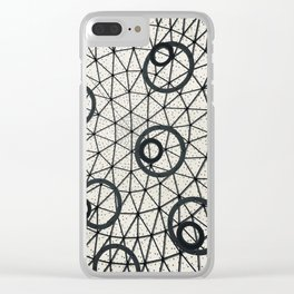 Black and White Circular Pattern Abstract Geometric Art Print Photograph Clear iPhone Case