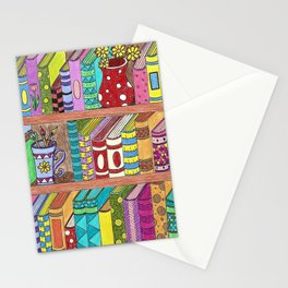 Colorful books on shelves Stationery Cards