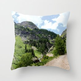 Old Wagon Road to the Silver Crown and Silver Cloud Gold Mines Throw Pillow