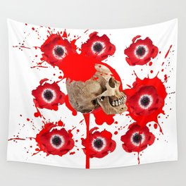 BLACK BLOODY RED EXPLODING BLOOD POPPIES SKULL ART Wall Tapestry