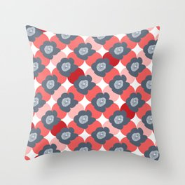 Mid Century Modern Flower Trellis Pattern Red Coral and Slate Blue Gray Throw Pillow