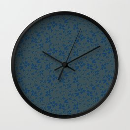 Cerulean Leaves with Slate Blue Back Wall Clock