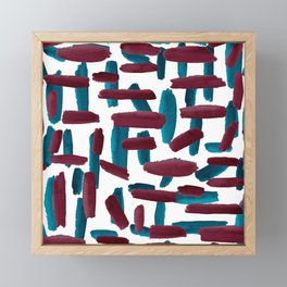 Artsy Burgundy Navy Blue Watercolor Brushstrokes Framed Mini Art Print