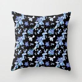Orchid chic decor (blue & black palette) Throw Pillow