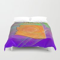 arizona Duvet Covers featuring Arizona Map by Roger Wedegis