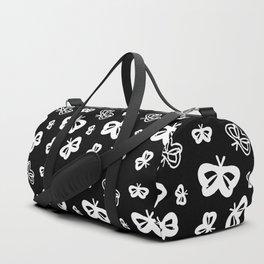 Flying Butterflies Pattern White on Black Duffle Bag