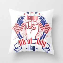 Happy 4th of July Freedom Hand & USA flag Throw Pillow