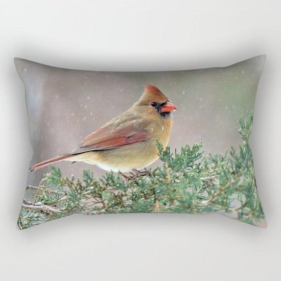 Waiting for Christmas Cardinal Rectangular Pillow