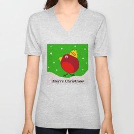 Merry Christmas Robin Unisex V-Neck