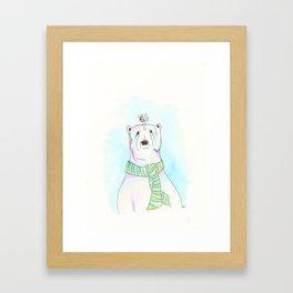 Polar Bear and Love Bird Framed Art Print