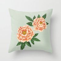peonies Throw Pillows featuring Peonies by A.Vogler