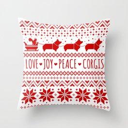 Love, Joy, Peace, Corgis | Humorous Dogs Christmas Pattern Throw Pillow