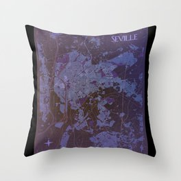 Seville retro map Throw Pillow