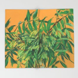 Ash-Tree, green & yellow Throw Blanket