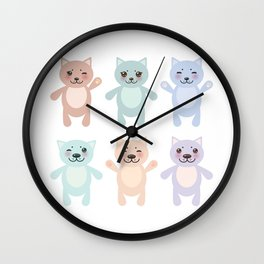 funny cats, pastel colors on white background Wall Clock
