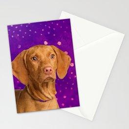 Vizsla  - Hungarian pointer puppy on purple Stationery Cards