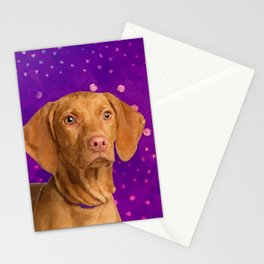 Vizsla  - Hungarian pointer puppy on purple Stationery Cards