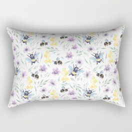 Watercolor Bees and florals | Save the bees Rectangular Pillow
