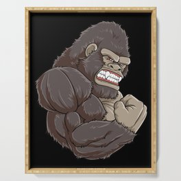 Gorilla At The Gym   Fitness Training Muscles Serving Tray