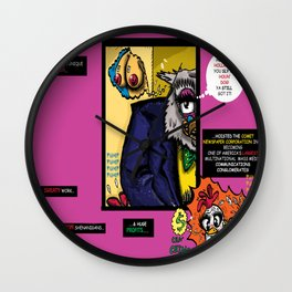 Bird of Steel Comix - Page #4 of 8 (Society 6 POP-ART COLLECTION SERIES)  Wall Clock