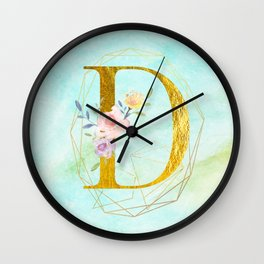 Faux Gold Foil Alphabet Letter D Initials Monogram Frame with a Gold Geometric Wreath Wall Clock