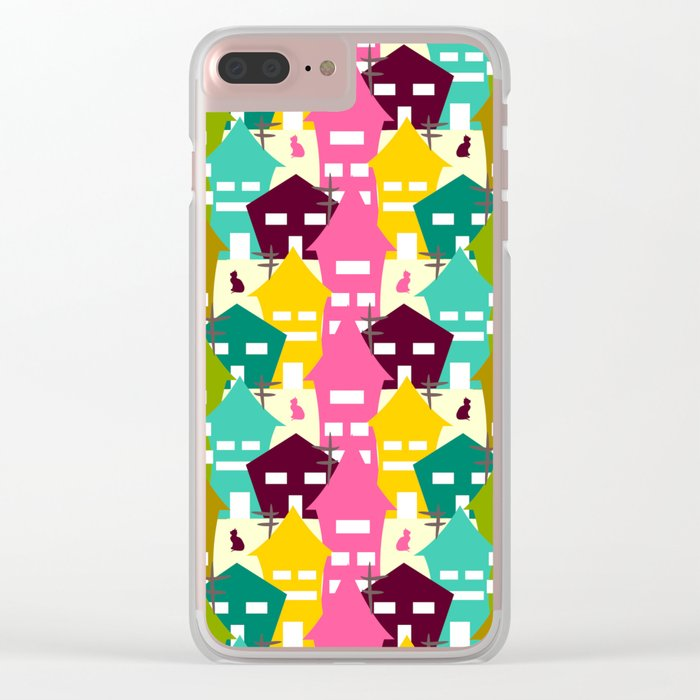 Colorful houses and cats Clear iPhone Case