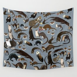 Otters of the World pattern in grey Wall Tapestry