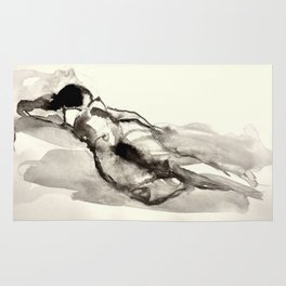 Sleeping nude, drawing Rug
