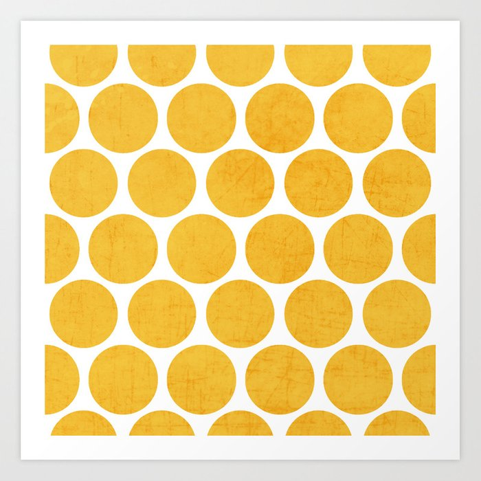 yellow polka dots Art Print